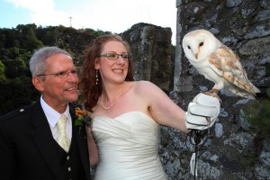 The Bride and Grrom with a Barn Owl